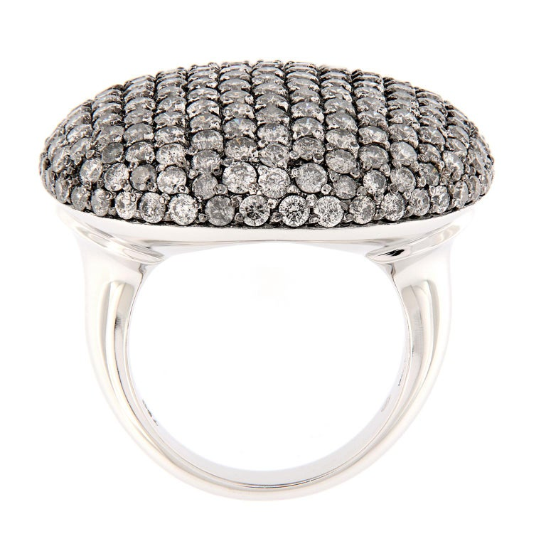Women's Scheffel Fancy Grey Diamond Cluster Dome Cocktail Ring For Sale