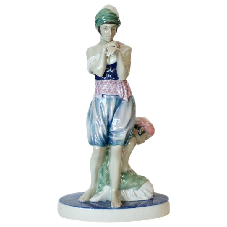 Scheherazade Porcelain Statue by Volkstedt For Sale