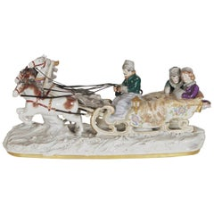 "Scheibe-Ansbach Porcelain Figure. ""St. Petersburg, Russia Sleigh Ride"""