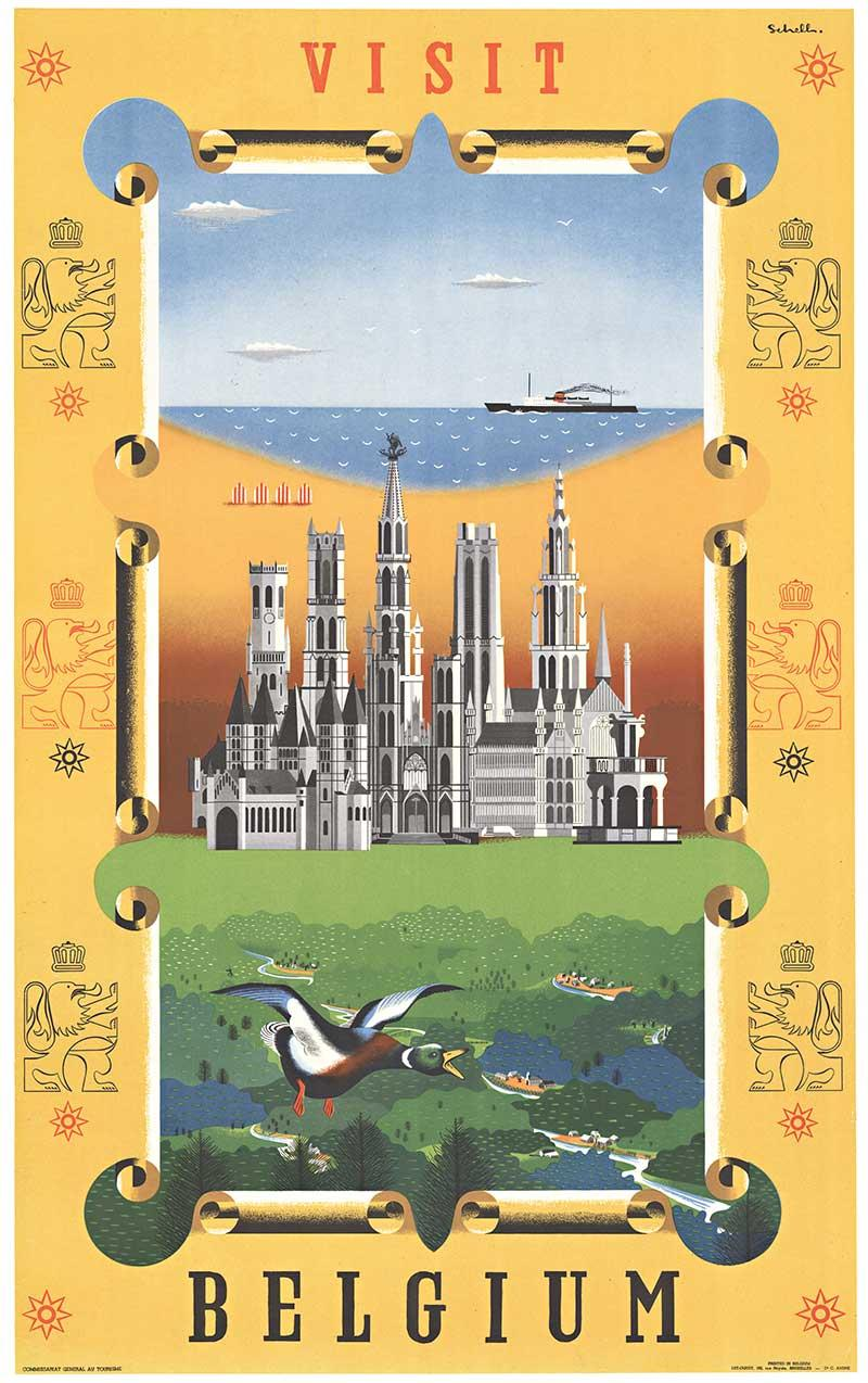 Visit Belgium original travel poster.