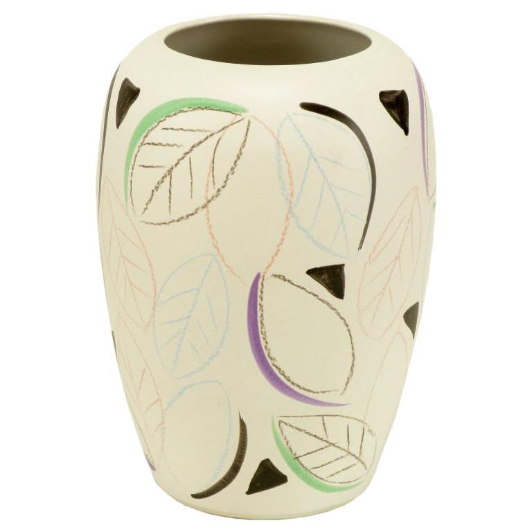 Scheurich Ceramic West German Painted Pottery Vase.