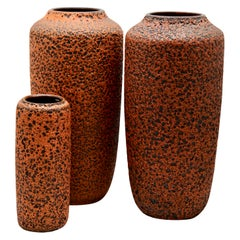 Scheurich, Germany, 3 Large Hot Orange Fat Lava Floor Vases, 1973, Germany