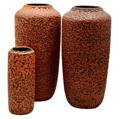 Scheurich, Germany, 3 Large Hot Orange Fat Lava Floor Vases, 1973, Germany
