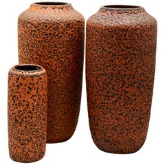 Scheurich 'Germany' Hot Orange Lava Vases '1973'