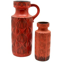 Scheurich 'Germany' Vases with Amsterdam Decor in Tangerine, 1968