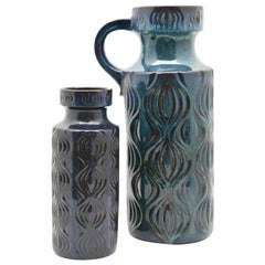 Scheurich 'Germany' Vases with Amsterdam Decor in Turquoise on Black, 1970s