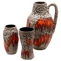 Scheurich 'Germany' Vases with 'Lora' Decoration, 1970s