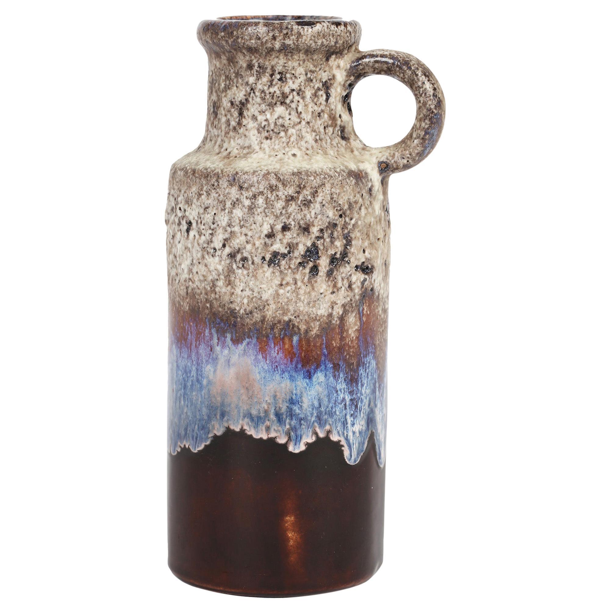 Scheurich Mid-Century West German Flagon Shaped Art Pottery Handled Vase