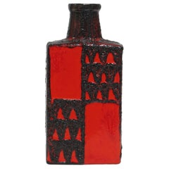 Scheurich Vase, Ceramic, Red and Black, Geometric Signed