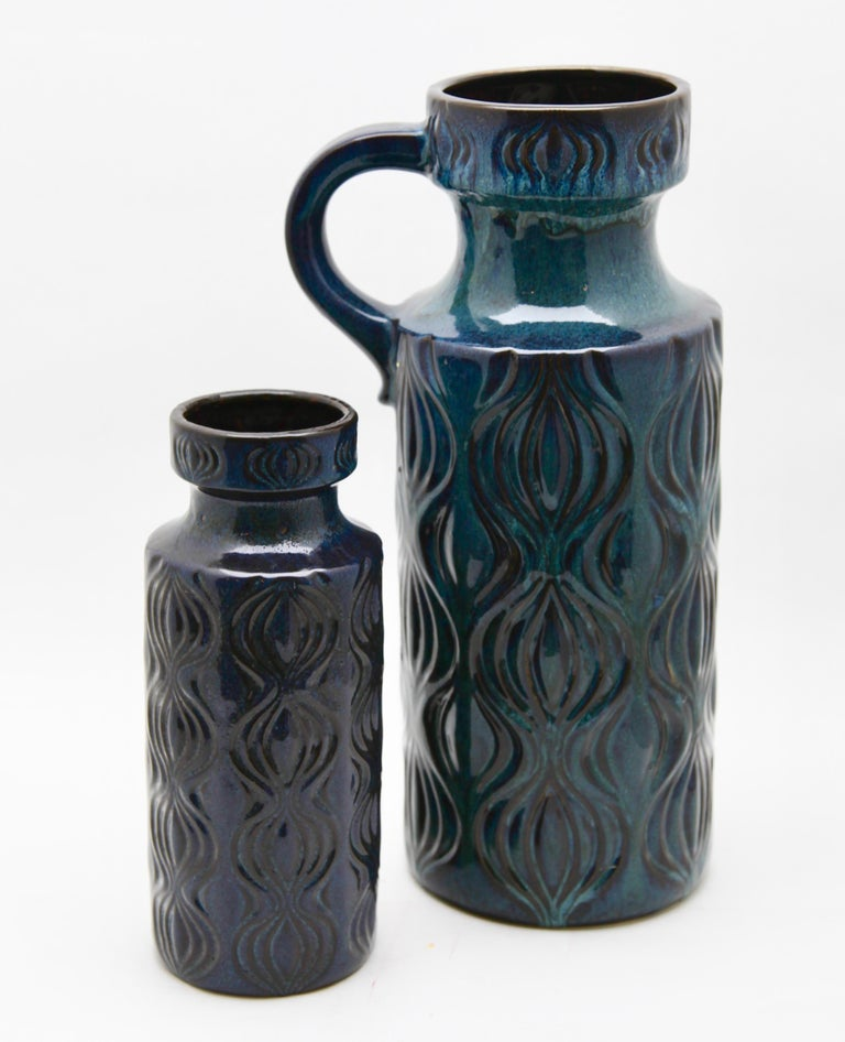 Glazed Scheurich Vases with Amsterdam Decor in Inky Turquoise on Black, Germany, 1970s For Sale