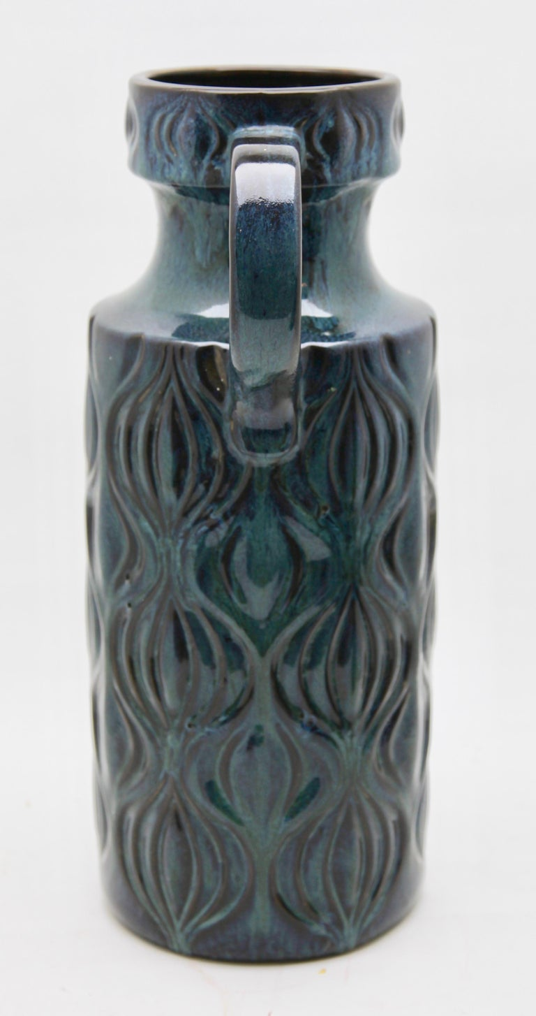 Late 20th Century Scheurich Vases with Amsterdam Decor in Inky Turquoise on Black, Germany, 1970s For Sale