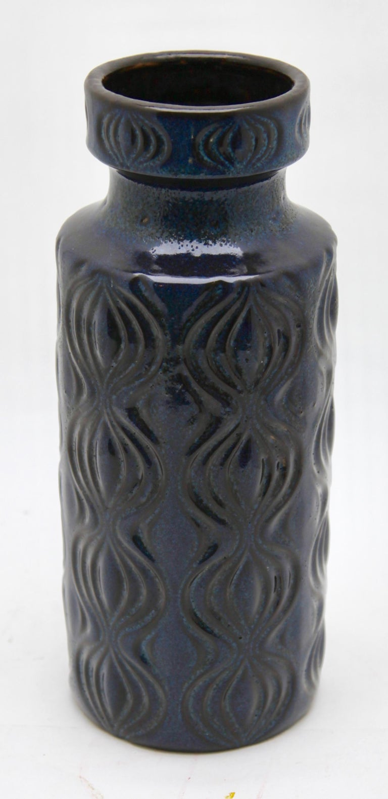 Scheurich Vases with Amsterdam Decor in Inky Turquoise on Black, Germany, 1970s For Sale 1