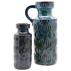 Scheurich Vases with Amsterdam Decor in Inky Turquoise on Black, Germany, 1970s