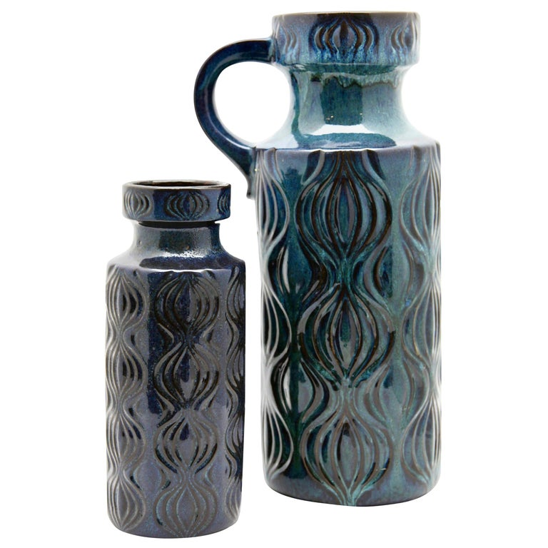 Scheurich Vases with Amsterdam Decor in Inky Turquoise on Black, Germany, 1970s For Sale