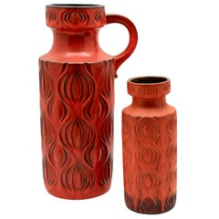 Scheurich Vases with Amsterdam Decor in Tango-Tangerine, 1968