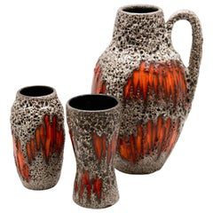 Scheurich Vases with 'Lora' Scraffito Decoration, 1970s