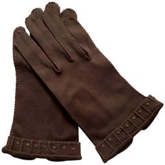 Schiaparelli 1960s Chocolate Brown Beaded Gloves