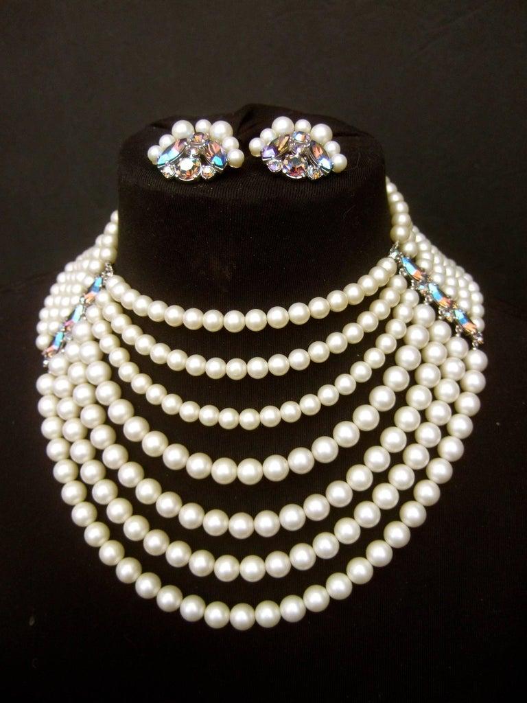 Schiaparelli Dramatic Multi Strand Faux Pearl Necklace And