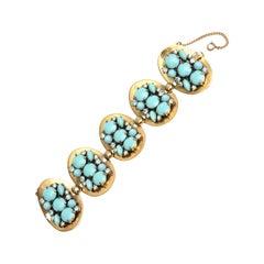 Schiaparelli Faux Turquoise and Rhinestone Cluster Bracelet