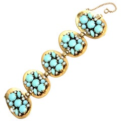 Schiaparelli Faux Turquoise and Rhinestone Cluster Bracelet Vintage