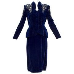 Schiaparelli-Inspired Sapphire Silk Velvet Bead and Pearl Peplum Suit - S, 1940s