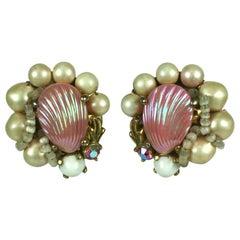 Schiaparelli Pink Shell Earrings