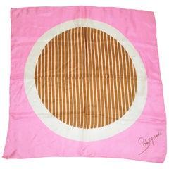 "Schiaparelli Rare Fuchsia Border with ""Striped Circle"" Center Silk Scarf"