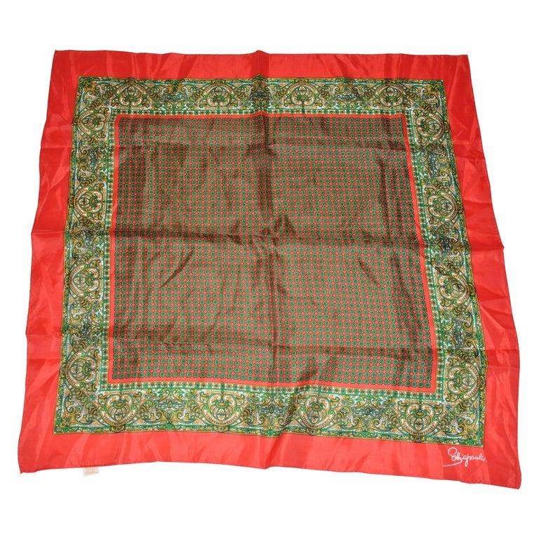 "Schiaparelli Signature Red Border ""Patterned Center"" Silk Scarf For Sale"