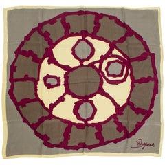 Schiaparelli Silk Cipher Wheel Foulard Scarf, 1960s