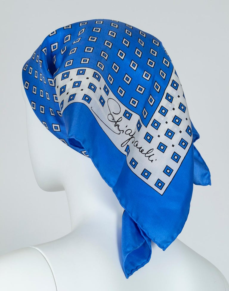 Schiaparelli Silk French Blue Check Foulard Scarf, 1960s In Excellent Condition For Sale In Phoenix, AZ