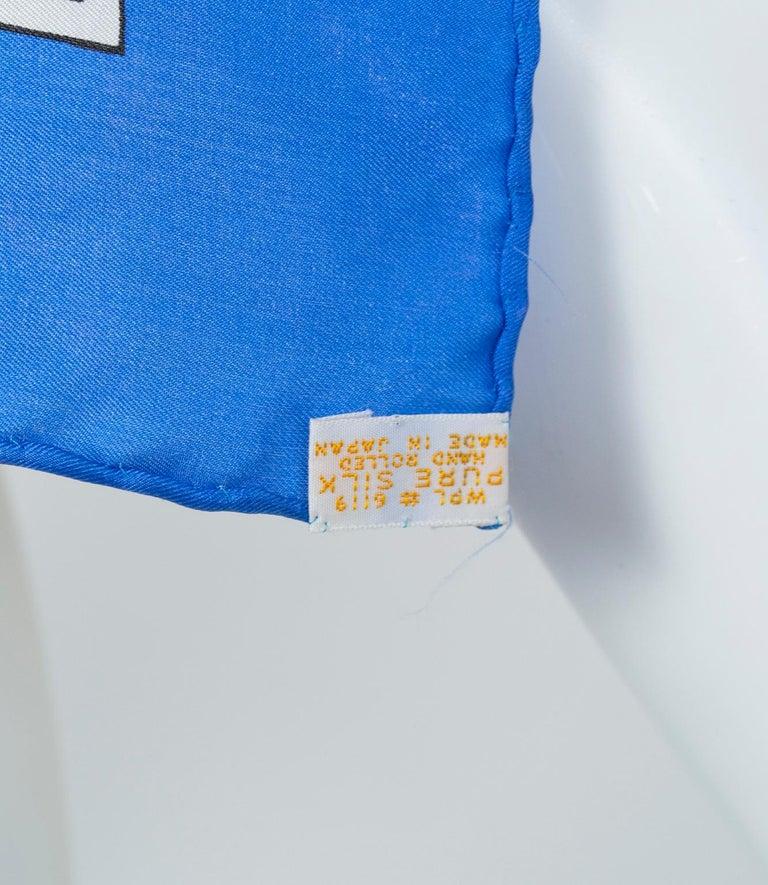 Schiaparelli Silk French Blue Check Foulard Scarf, 1960s For Sale 2