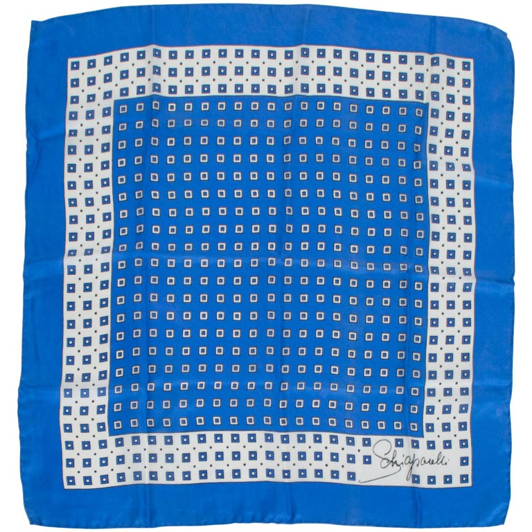 Schiaparelli Silk French Blue Check Foulard Scarf, 1960s For Sale