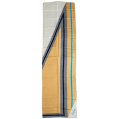Schiaparelli Silk Geometric Print Foulard Scarf, 1960s