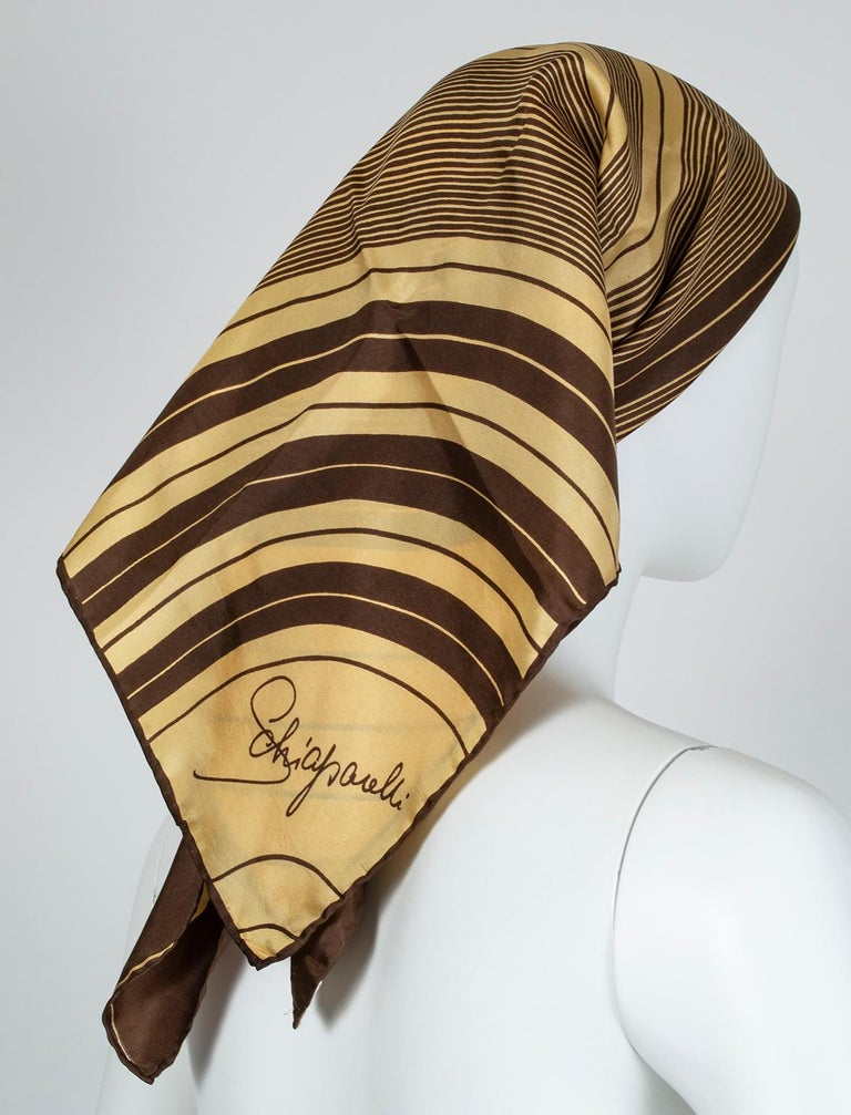 Brown Schiaparelli Silk Rings of Saturn Foulard Scarf, 1960s For Sale