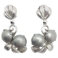 Schiaparelli Vintage Earrings Divine Grey Pearl Drops 1950s