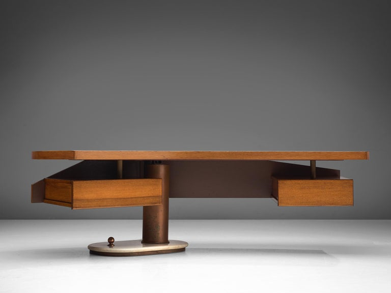 Mid-Century Modern Schirolli Boomerang Desk in Wood, Italy, 1960s. For Sale