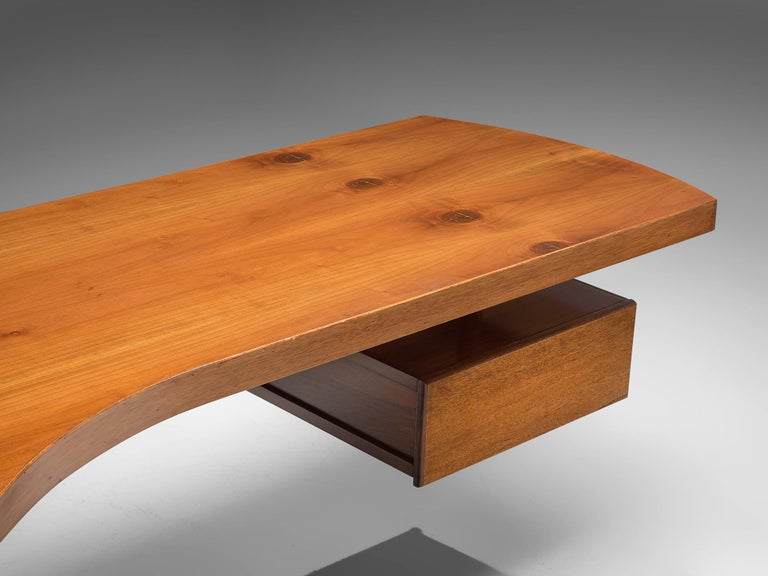 Mid-20th Century Schirolli Boomerang Desk in Wood, Italy, 1960s. For Sale