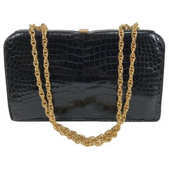 Schitz Paris Rare Black Crocodile Handbag with Gold Hardware 1953.