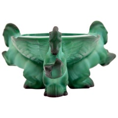 Schlevogt Czech Art Deco Malachite Glass Ponies Ashtray