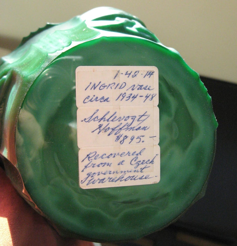 """Schlevogt Pair of Moser """"Ingrid"""" Malachite Glass Vases, circa 1930s In Good Condition For Sale In Phoenix, AZ"""
