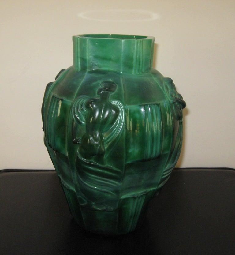 "Mid-20th Century Schlevogt Pair of Moser ""Ingrid"" Malachite Glass Vases, circa 1930s For Sale"