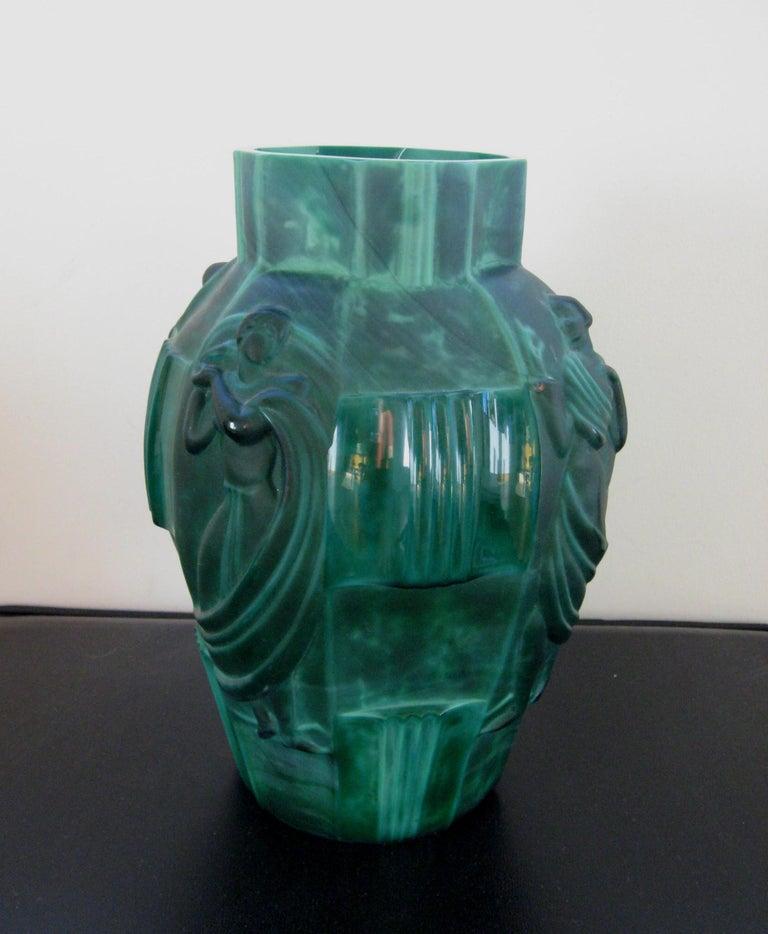 "Schlevogt Pair of Moser ""Ingrid"" Malachite Glass Vases, circa 1930s For Sale 2"