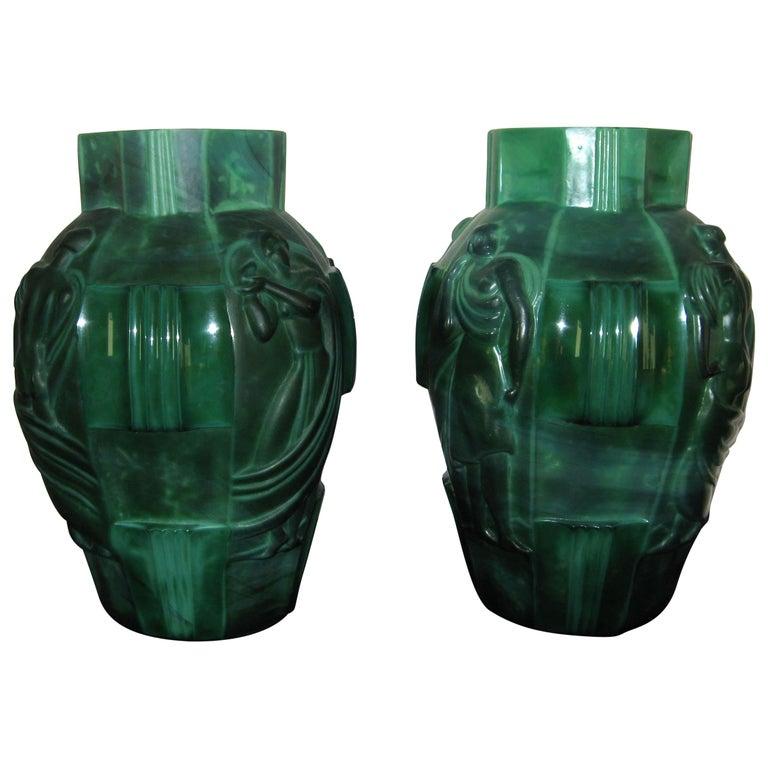 "Schlevogt Pair of Moser ""Ingrid"" Malachite Glass Vases, circa 1930s For Sale"