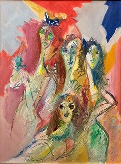 Surrealist Women, Abstract Israeli Oil Painting