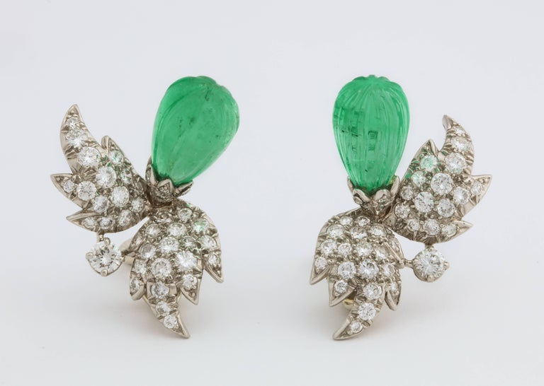 Jean Schlumberger for Tiffany & Co. Carved Emerald Diamond Gold Set For Sale 9