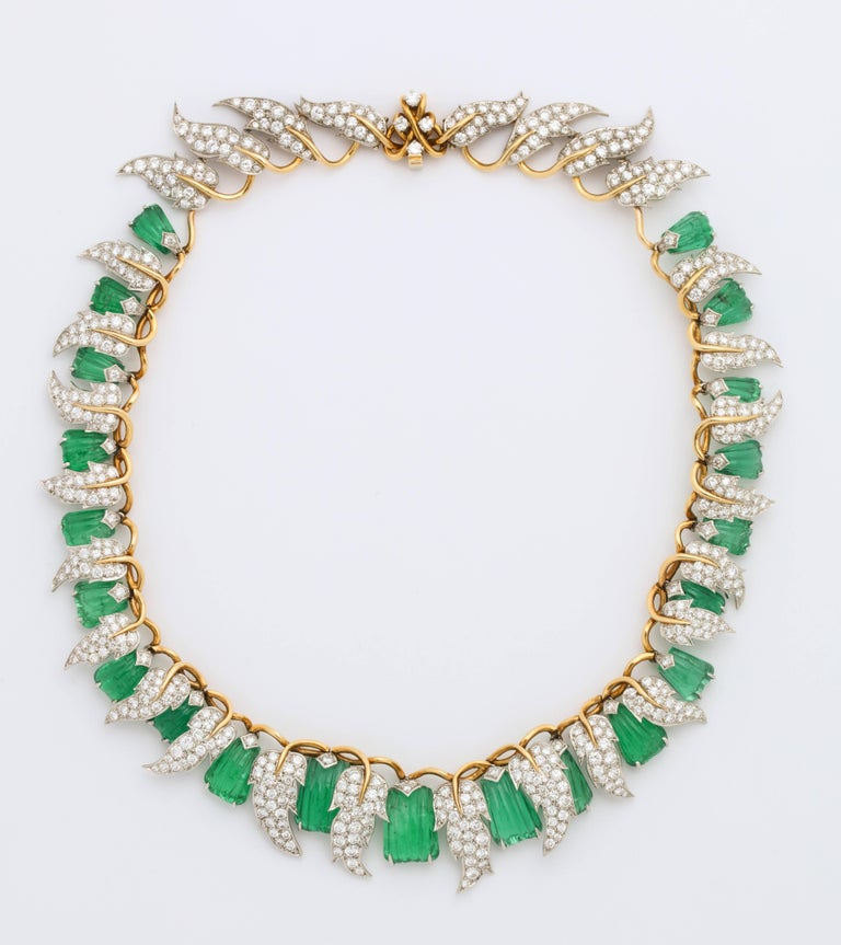 Jean Schlumberger for Tiffany & Co. Carved Emerald Diamond Gold Set For Sale 10