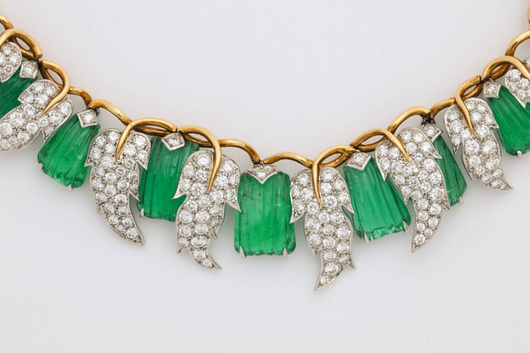 Jean Schlumberger for Tiffany & Co. Carved Emerald Diamond Gold Set For Sale 11
