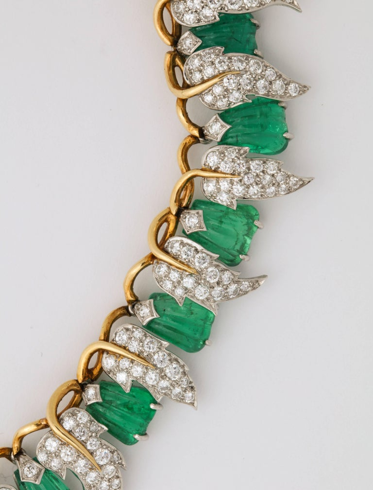 Jean Schlumberger for Tiffany & Co. Carved Emerald Diamond Gold Set For Sale 12