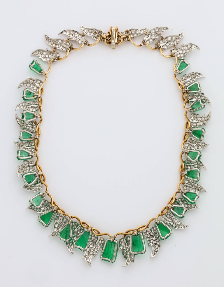 Jean Schlumberger for Tiffany & Co. Carved Emerald Diamond Gold Set For Sale 14
