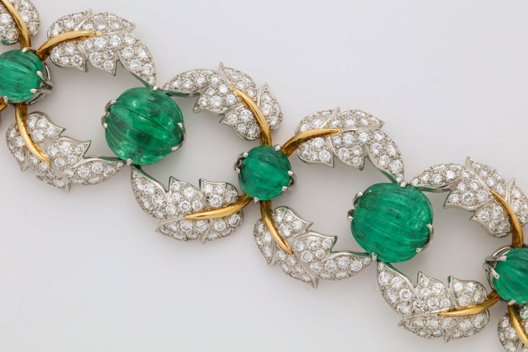 Jean Schlumberger for Tiffany & Co. Carved Emerald Diamond Gold Set In Good Condition For Sale In New York, NY